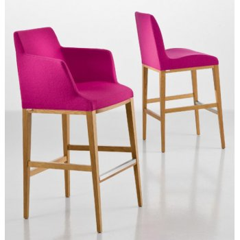 Bloom Pink and Light Wood Barstool