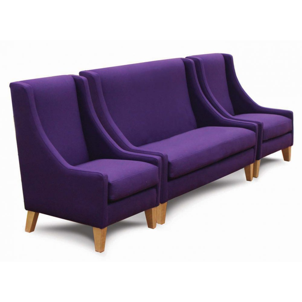 Cerler purple 3 seater sofa and side chairs from for Purple sofa