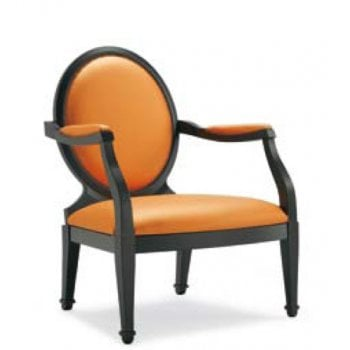 Charming P Dark Wood, Orange Upholstered Armchair and Pouf