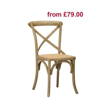 Cross Back chair Natural with woven cane seat