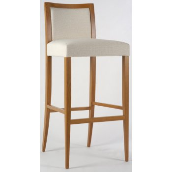 Emilia Cream and Light Wood Barstool