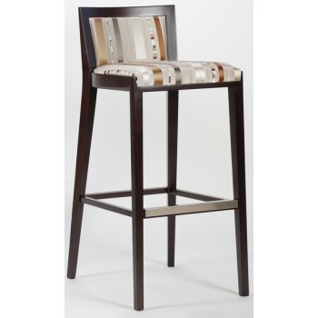 Evie Dark Wood and Patterned Barstool
