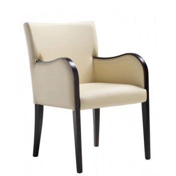 Grecia Cream and Dark Wood Armchair