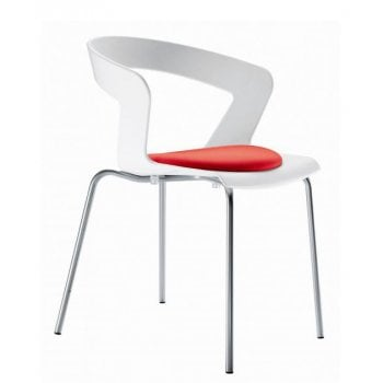 Ibis White and Crimspn Seat Retro Back Side Chair
