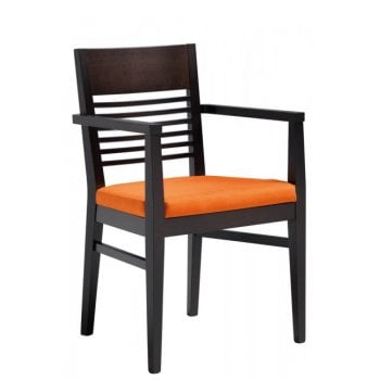 Lina Orange Upholstered and Dark Wood Armchair