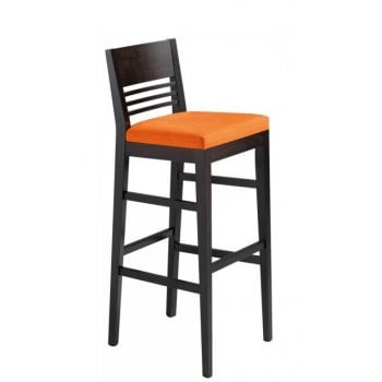 Lina Orange Upholstered and Dark Wood Barstool