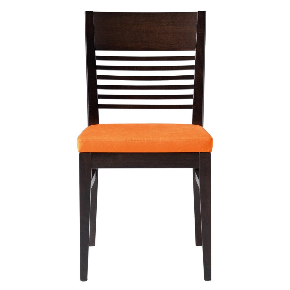 Lina orange upholstered and dark wood side chair from for Dark wood furniture