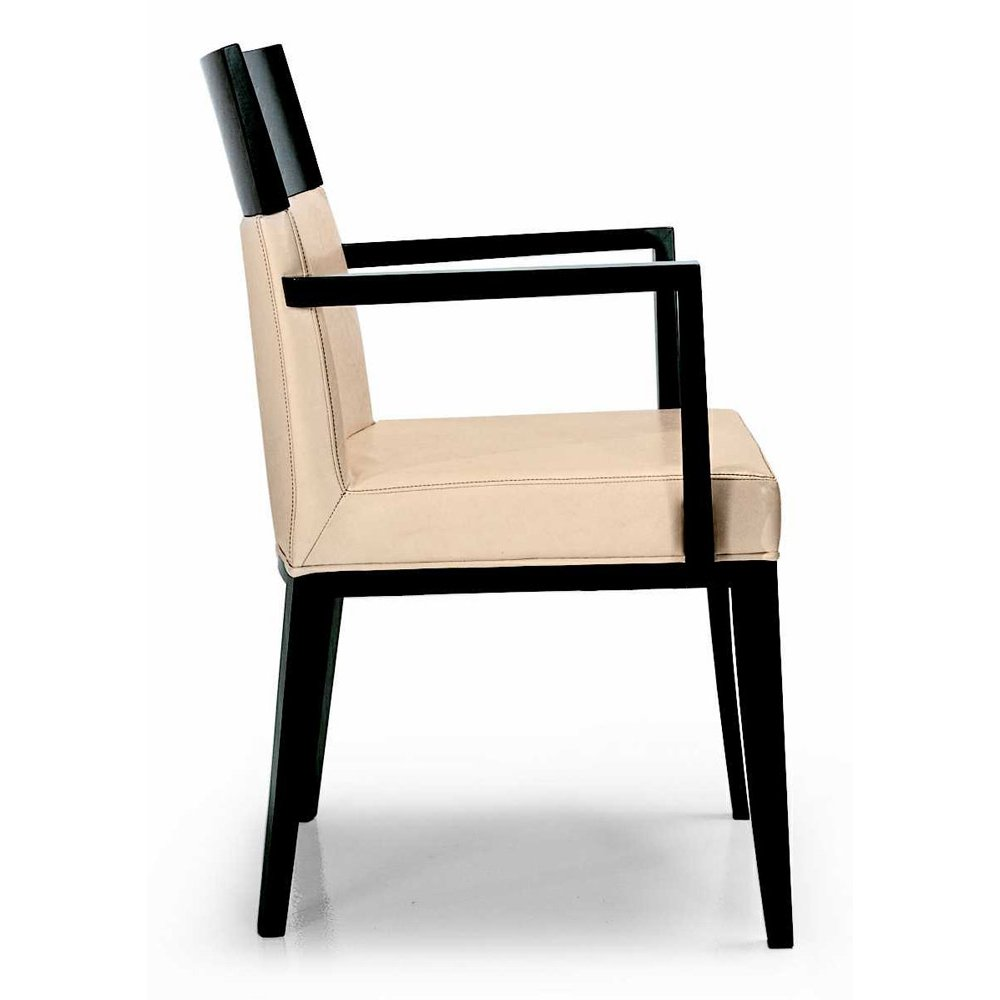 Montbel collection logica cream and dark wood armchair for Cream armchair
