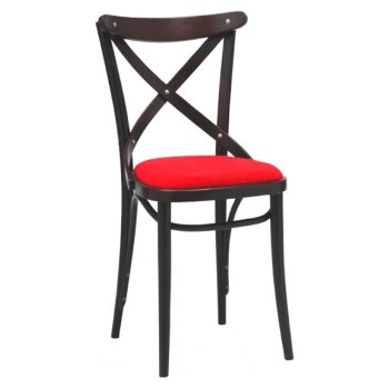 No. 150 Crimson Seat and Dar Wood Chair