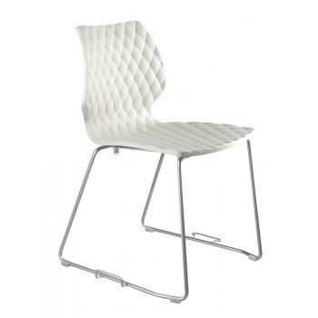 Pagina White Patterned Side Chair