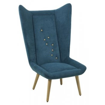 Scana Navy Blue Winged Lounge Chair