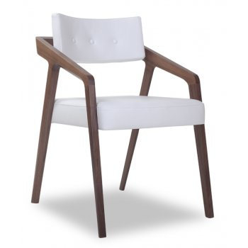 Scroll Cream and Light Wood Armchair