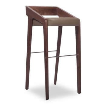 Scrool Dark Wood Barstool