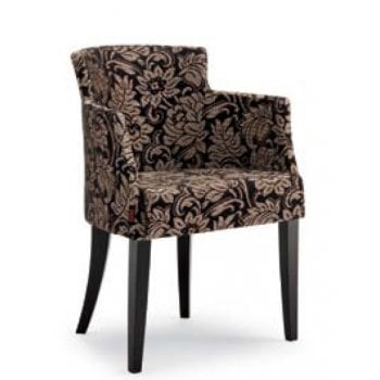Veronica P Dark Wood and Patterend Upholstered Armchair