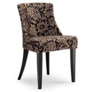 Veronica S Dark Wood and Patterend Upholstered Side Chair